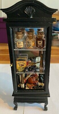 Witches Cabinet Full Of Accessories For A 1/12 Scale Dolls House
