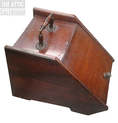 Charming Old Antique Victorian Mahogany Coal Box w/ Ornate Handle, Scuttle
