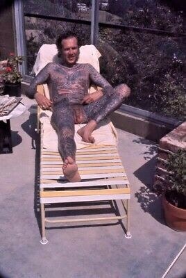 1970s LYLE TUTTLE FULLY NUDE BODY SUIT TATTOO COLOR SLIDE AT SWIMING POOL 4-14