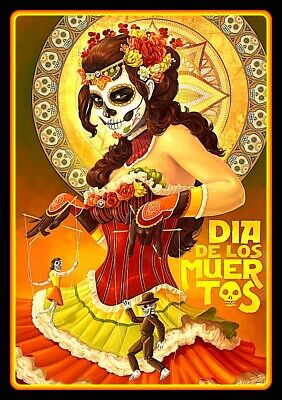 "4.5"" Day of the Dead vinyl sticker. Dia de los Muertos Puppet Master decal."