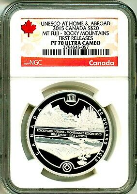 2015 Canada S$20 Unesco At Home & Abroad Mt. Fuji Rocky Mountains FR NGC PF70 UC
