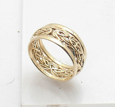 Size 7.5 Framed Bordered Domed Byzantine Ring Real 14K Yellow Gold