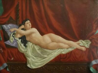 19th Century FRENCH EMPIRE Female Nude Orientalist Odalisque Oil Painting c1860