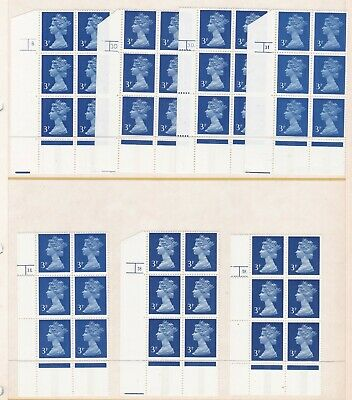 GB GREAT BRITAIN 1971 MACHIN 3p CENTRE BAND 7 DIFFERENT CYLINDER BLOCKS  6 NHM