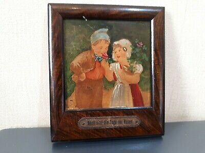 Antique German  Miniature  Oil  Painting  Of  Young  Couple In  A  Garden