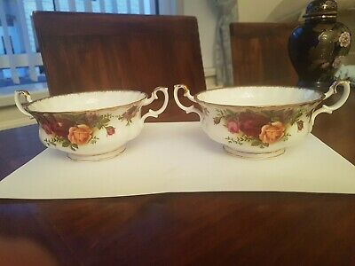 Royal Albert Old Country Roses 2 Handled Soup Bowls x 2 Excellent Condition
