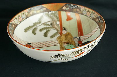Great Antique Japanese Samurai Porcelain Bowl Taisho Period 9.5""