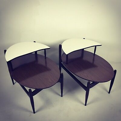 A Very Fine Pair Of Vintage Mid-Century Modern Mersman Oval Step End Tables 1960