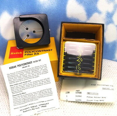KODAK POLYCONTRAST FILTER Set in Box Complete with Filter Holder, 1970's h12