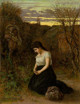 """perfect oil painting handpainted on canvas""""in the cemetery""""@9388"""