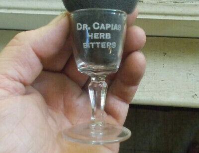 DR.CAPIAS HERB BITTERS 1890s FOOTED SHOT GLASS FIRED ON ENAMEL LETTERS BUFFALO