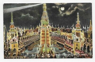 1910 CONEY ISLAND N. Y. LUNA PARK AT NIGHT Great View Unposted Post Card #2461