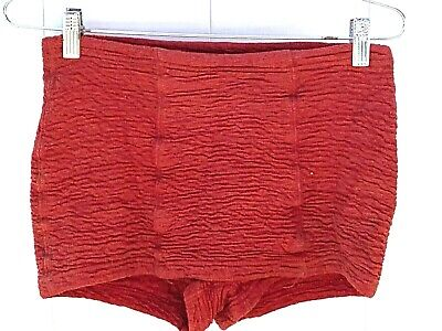 "Vintage 1930s Mens Bathing Suit Shorts Trunks Red Stretch Cotton  28"" Waist S"