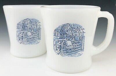 2 Vintage Currier & Ives Mar-Crest Milk Glass The Old Farm Gate Coffee Cup Blue