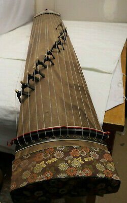Vintage Wooden Japanese KOTO 13 STRING Kayagum Plucked Stringed Instrument #25