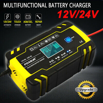 Automatic Electronic Car Battery Charger 12V/24V Fast/Trickle/Pulse Modes 8AMP S