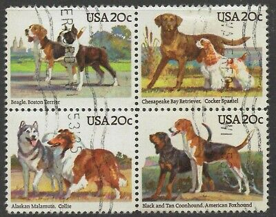 Scott #2098-2101 Used Se-tenant Block of 4, Dogs