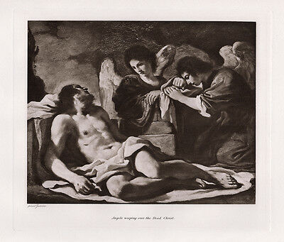 "1800s GUERCINO Antique Print ""Dead Christ mourned by Angels"" Signed FRAMED COA"