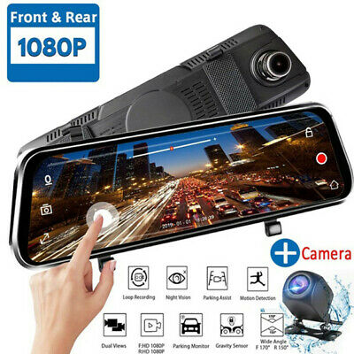 "10"" HD 1080P Dual Lens Car DVR Vehicle Camera Video Recorder Dash Cam Rear View"