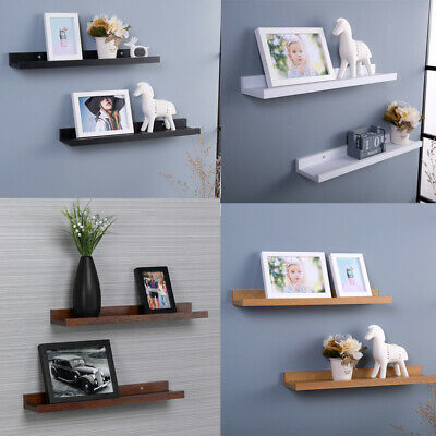 Set of 2 U Shape Floating Wall Shelves Storage Display Shelf White Black Oak MDF