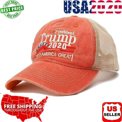 Trump 2020 Hat Baseball Mesh MAGA Cap Keep America Great Embroidery A++ US Stock