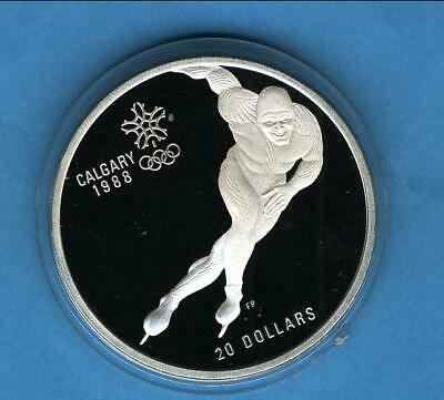 20 can-$ Oly Calgary 1988 Eisschnelllauf 1 Unze Silber