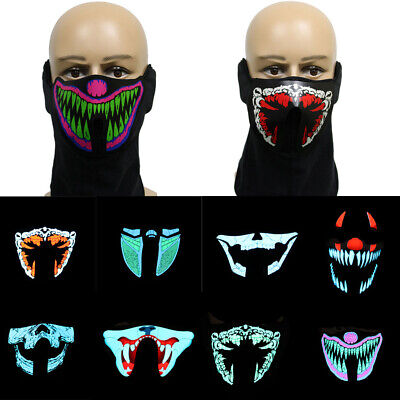 Led Sound Activated Mask Costumes Halloween Music Dance Party Mask Best Light Up