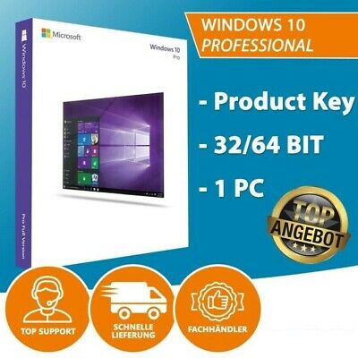 Windows 10 Professional 32/64 Bits Product Key Win 10 Pro Lizenzschlüssel 1PC DE