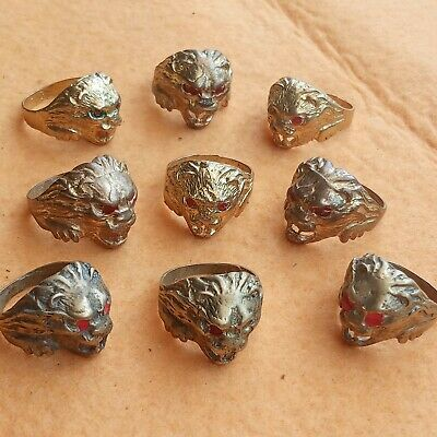 Lot of 9 Ancient Roman Bronze Rings lion head  DETECTOR FIND
