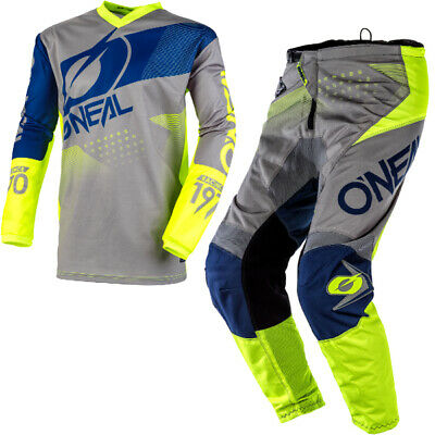 Oneal Element Factor Grey Blue Yellow Kit Combo