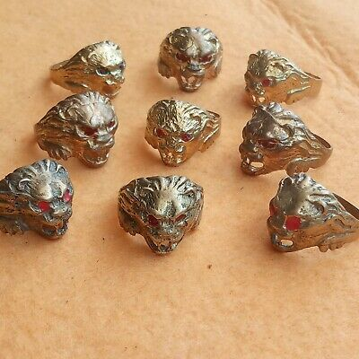 Lot of 9 Ancient Roman viking Bronze Rings lion head  DETECTOR FIND