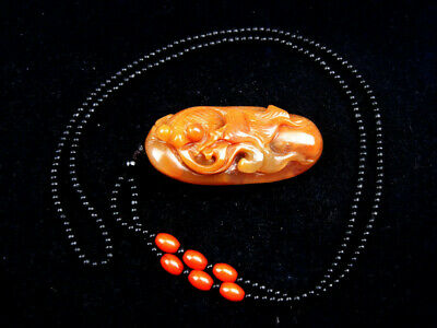 Vintage Nephrite Jade Hand Carved Pendant Beads Necklace Goldfish #08151906