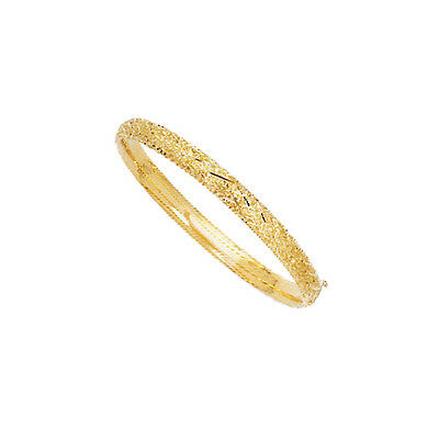 """7"""" 14K Yellow Gold 6.30mm Texture Patterned Top Round Tube Domed Bangle Bracelet"""