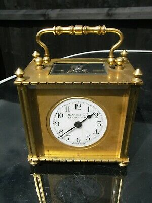 Antique Harrods Brass Cased Carriage Clock with Original Leather Case