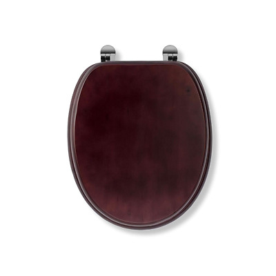 Croydex Mahogany Finish Wooden Toilet Seat - Chrome Hinges WL515241