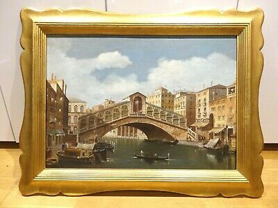 Large 19th Century Italian Venice Canal Landscape Canaletto Antique Oil Painting
