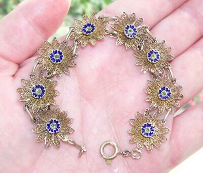 "Fine Antique Art Deco Solid Silver Gilt Enamel Filigree Daisy Chain 7"" Bracelet"