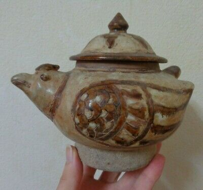 Antique  Thai Sukhothai  Stoneware  Bird Shaped Bowl With Lid
