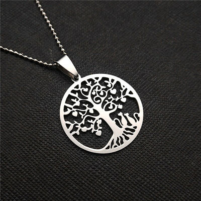 NEW Lucky Tree Silver 316L Stainless Steel Titanium Pendant Necklace Q46