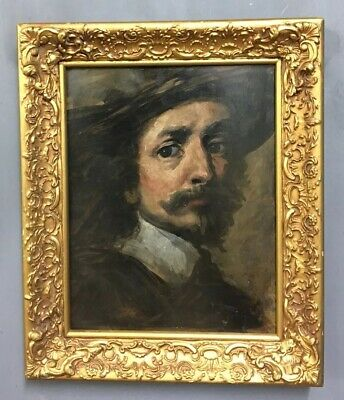 Antique Portrait Of A Gentleman Oil On Board Painting In Gold Gilt Frame, Signed