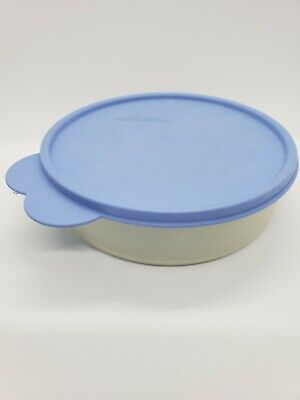 TUPPERWARE Big Wonder Cereal Snack Storage Sheer Bowl Blue Lid #1405 Used