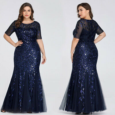 UK Ever-Pretty Plus Size Long Homecoming Party Dress Cocktail Evening Prom Gowns