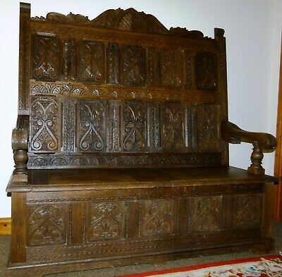 Antique Victorian Carved Oak Box Settle Monks Bench Hall Seat Chair avco