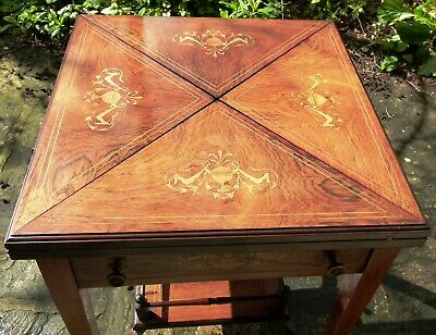 Card Table Rare Late 19th Century Envelope with Boxwood Inlay and Stringing rlce