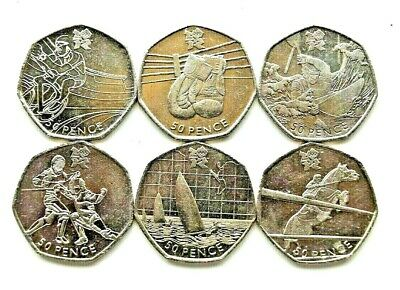 VERY RARE..50p OLYMPIC COINS X 6 ..ALL DIFFERENT AND ALL VERY CLEAN