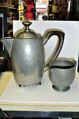 Antique Liberty & Co Tudric Pewter Archibald Knox Footed Choc Pot+Creamer  01535