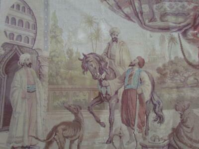 ANTIQUE circa 1940s FRENCH TAPESTRY , PERSIAN ARAB & HORSE SCENE, 39 X30 INCHES