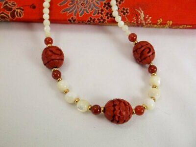 Vintage Cinnebar Carved Bead Mother-of-Pearl Bead Necklace*Red Chinese Case