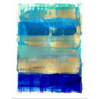 Poster Print Wall Art entitled Abstract Expressions Blues and Gold