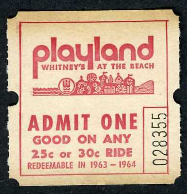 SAN FRANCISCO PLAYLAND-AT-THE-BEACH~ORIGINAL 1960s MAD MINE/&OCTOPUS RIDE TICKET